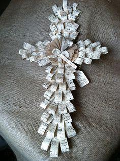 Cross made from sheet music