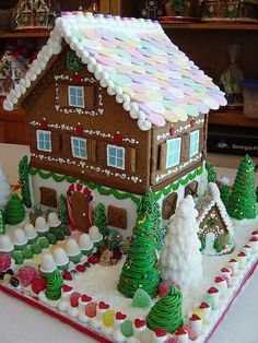 A two-story Gingerbread house. This is my kind of gingerbread house. Gingerbread House Parties, Christmas Gingerbread House, Christmas Sweets, Christmas Love, Christmas Goodies, Gingerbread Man, Christmas Baking, Christmas Holidays, Christmas Crafts