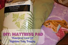 DIY Waterproof Mattress Pad Cover made with flannel sheets, a  vinyl tablecloth, and and fleece