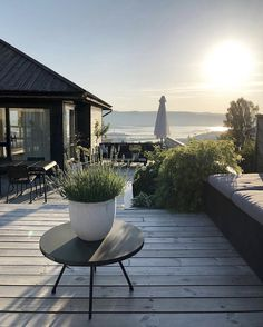 my scandinavian home: One of Norway's Most Beautiful Homes Is For Sale! A bl… my scandinavian home: One of Norway's Most Beautiful Homes Is For Sale! A black and grey outdoor terrace with views over Oslo fjord. Garden In The Woods, House In The Woods, Outdoor Spaces, Outdoor Living, Outdoor Decor, Norwegian House, Outdoor Furniture Design, Wooden Furniture, Decoration Inspiration