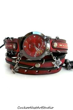 Wrap Watch, Womens  watch, Bracelet Watch, Chain Wrist Watch, Red and Black with charms