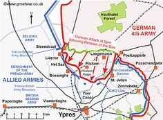 Map of the Ypres Salient to show the area of ground lost by the Allies by the end of the day on 22 April Ypres Ww1, Battle Of Ypres, Ww1 Soldiers, French Army, History Class, World War One, Class Projects, Me On A Map, Wwii