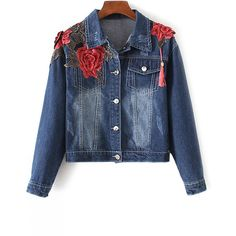 Fringed Embroidered Denim Jacket (105 RON) ❤ liked on Polyvore featuring outerwear, jackets, embroidered jacket, blue fringe jacket, embroidery jackets, blue denim jacket and embroidered denim jackets