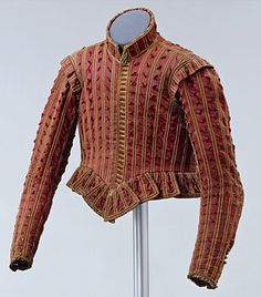 Man's doublet, Germany, c. 1610-1620 The richly decorated doublet with upright collar and short tabs at the waist can be traced back to the tradition of sixteenth-century Spanish fashion.