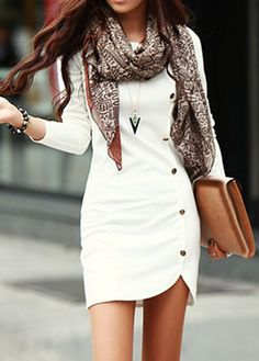 Enchanting Long Sleeve White Sheath Dress with Button