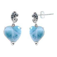 Sterling Silver Larimar Earrings (BTS-NES2976/LR/LBT/R) ($74) ❤ liked on Polyvore featuring jewelry, earrings, larimar jewelry, larimar earrings, sterling silver earrings, sterling silver jewelry and sterling silver jewellery
