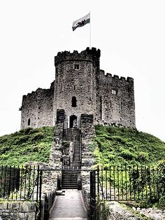 Cardiff Castle sits atop a hill in Wales.