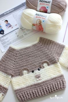 "It's so ""Beary"" Cute! This Baby Bear Crochet Character Sweater is hot off. - - It's so ""Beary"" Cute! This Baby Bear Crochet Character Sweater is hot off my hook! I couldn't resist the cuteness when I spotted this crochet pattern. Crochet Baby Sweater Pattern, Crochet Baby Sweaters, Baby Sweater Patterns, Crochet Baby Clothes, Baby Knitting Patterns, Baby Blanket Crochet, Baby Patterns, Sweaters For Babies, Clothes For Babies"