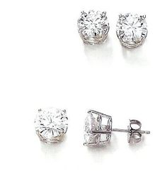 Beautiful! 14k White-gold Pair 5mm (1CT TW) Round Moissanite Stud Earrings. Charles&Colvard Created Moissanite is a new category in the jewelry industry. All stones are Round Faceted Very Good Lab Created. It has a fire, brilliance and luster unlike other jewels. Every Charles & Colvard Created Moissanite will come with a limited Lifetime warranty that they will maintain their brilliance and fire for the lifetime of the owner. Written Charles&Colvard's limited lifetime warranty.