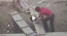 Jovens Brincam Com Trabalhador Duma Obra Que Nunca Viu Um Ponteiro Laser