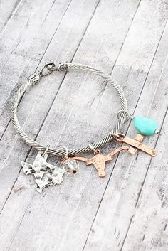 Two-Tone Texas Longhorn Charm Bangle Bracelet Southern Style
