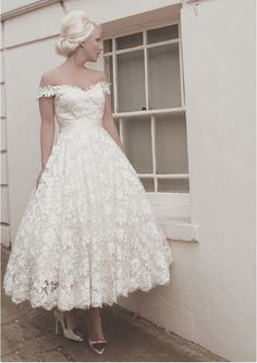 50's length taffeta dress with buckle belt   LouLou Bridal