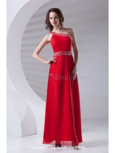 Chiffon Asymmetrical Neckline A-line Floor Length Sequins Prom Dress