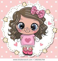 Cute Cartoon girl with pink bow. Cute cartoon Baby girl with pink bow vector illustration Cartoon Cartoon, Cute Baby Cartoon, Kids Cartoon Characters, Cartoon Kunst, Cartoon Drawings, Cute Drawings, Cartoon Girls, Baby Girl Cartoon Images, Baby Cartoon Drawing
