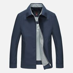 Sale 23% (54.99$) - Mens Casual Turn-down Collar Solid Color Business Coat Spring Autumn Thin Water Repellent Jacket