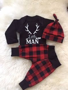 Baby Boy Coming Home Outfit Set: Little Man with white onesie -Fabric-Red Plaid Soft Jersey Knit Set Baby Boys, Baby Boy Gifts, Baby Boy Newborn, Carters Baby Clothes, Cute Baby Clothes, Baby Boy Outfits, Kids Outfits, Men's Outfits, Boys Winter Clothes