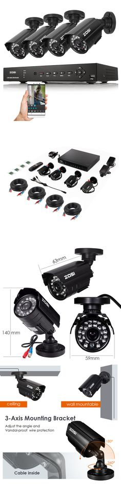 Security Cameras: Zosi Hd 720P 4Ch Hdmi Cctv Dvr 1500Tvl Outdoor Day Night Security Cameras System BUY IT NOW ONLY: $87.99