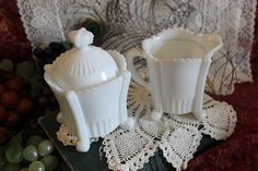 Antique Westmoreland Milk Glass Sugar and Creamer Set or Mustard Jars - Flute and Crown Pattern