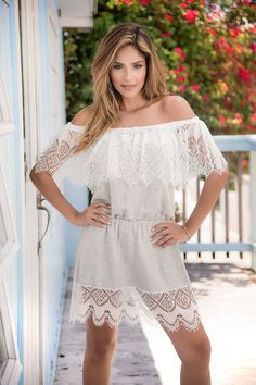 500387c00e55 Grey Crochet Sun Dress features an off-the-shoulder neckline with a sheer