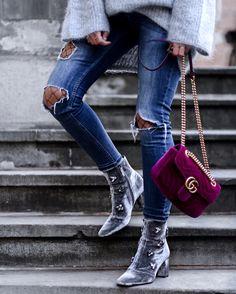 Gucci Marmont velvet bag! Uterqüe velvet boots