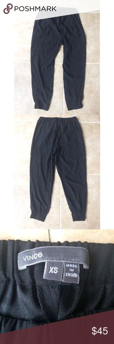 Vince Black Silk Ankle Jogger Pants Size XS There are no flaws. Inseam is 21.5 inches. Vince Pants Track Pants & Joggers