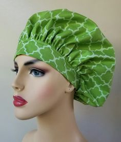Bouffant surgical scrub hat, scrub cap for women, scrub hat, surgical cap, green print scrub hat