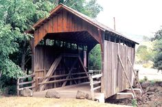 Lost Creek Bridge, shortest and maybe the oldest covered bridge in OR.  Built about 1881.  Photo:  Bill Cockrell