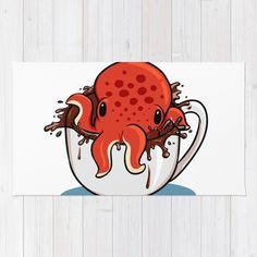 Served with Octopus Rug by pudgedraws Octopus Rug, Octopus Artwork, Octopus Painting, Hugging Drawing, Painted Skateboard, Steampunk Octopus, Homemade Stickers, Cute Monsters, Kraken