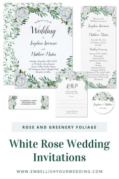 White rose wedding invitations featuring watercolor roses and greenery leaves with foliage. #weddinginvitations #whiteandgreenwedding #weddingstationery #whiteroses #roses #wedding #watercolorwedding #greenerywedding