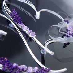 Coeur en rotin avec Fleur Parme pour Décoration de voiture de Mariage x 2 pièces
