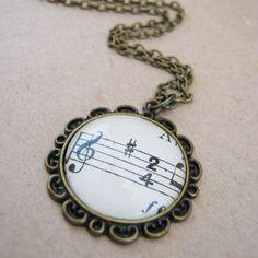 Vintage Sheet Music Decorative Pendant Necklace found on http://www.madeit.com.au/OnAWhimDesigns