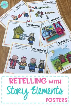 Teaching about story elements is easier with these visual posters. Using a familiar story, the 3 little pigs, the posters help as reminders for each story element and can be then applied to any book.  These printable posters are perfect for students in first grade and kindergarten. They are available in English & Spanish, ideal for supporting Language Learners in traditional and dual language classrooms.