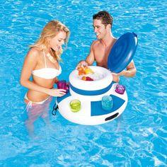 Aufblasbarer, schwimmender Getränkehalter mit integriertem Kühlfach und Getränkhaltern