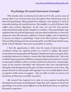 Good Psychology Personal Statement Examples  Http://www.personalstatementsample.net/good