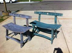 Benches made from wine barrel staves