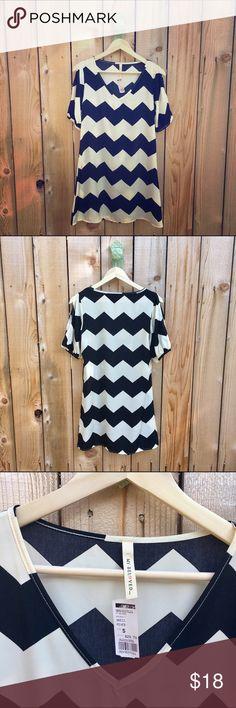 Selling this Black & White Chevron Print Cold Shoulder Dress on Poshmark! My username is: revolvingrack. #shopmycloset #poshmark #fashion #shopping #style #forsale #My Beloved #Dresses & Skirts