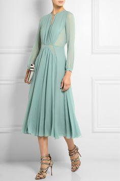 Burberry Prorsum | Silk-chiffon midi dress | NET-A-PORTER.COM