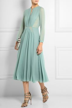 Burberry Prorsum | Silk-chiffon midi dress | NET-A-PORTER.COM