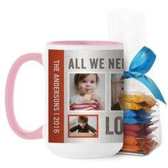 Textured Collage Mug, Pink, with Ghirardelli Minis, 15 oz, Red