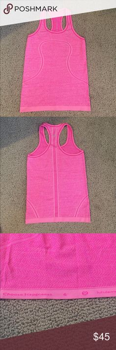 Lululemon Hot Pink Tank - Run Swiftly this season Lululemon Hot Pink Tank.  Only worn three times.  It's too big for me so selling.  Size 6.  Very cute but this Tank fits true to size not as tight as other tanks such as cool tanks. Bought two months ago from local lulu store lululemon athletica Tops Tank Tops