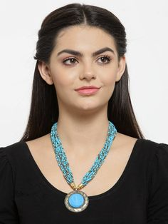 Blue Color Pretty Bold Pendant With Poth Beading Necklace Fashion Jewelry Stores, Fashion Necklace, Jewelry Collection, Turquoise Necklace, Jaipur, Perfume, Pendants, Animal Kingdom, Beads