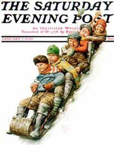 Alan Foster - Tobogganing, January 1928, The Saturday Evening Post