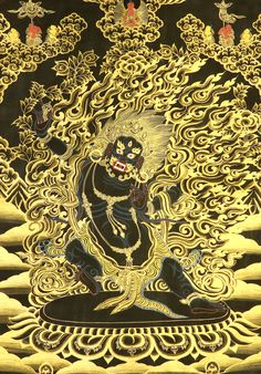 Vajrapani. Tibetan Thangka painting. Size of painted surface 14 inch x 20 inch. Size with brocade 25 inch x 36 inch