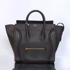 07cb8e4f9f CELINE LUGGAGE MINI IN BLACK SMOOTH CALFSKIN W RED PIPING 2290B Celine  Luggage