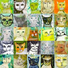 25 Cats Painting by Sarah Kiser - 25 Cats Fine Art Prints and Posters for Sale