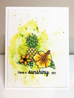 Tropical card featuring Sunny Studio Tropical Paradise stamps.