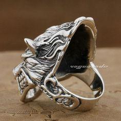 AMDXD Jewelry Men Rings Dragon Chinese Dragon Head Ring Gothic Rings Men