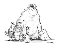 Monsters, Inc. concept art by Jason Deamer, art director at Pixar. Via Character Design. Disney Sketches, Disney Drawings, Cartoon Drawings, Art Sketches, Monsters Inc Characters, Pixar Characters, Disney Doodles, Pixar Concept Art, Disney Concept Art
