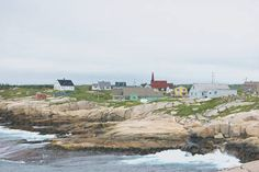 Peggys Cove - The village of Peggy's Cove, near Halifax, Nova Scotia, is shown as an ink-and-color sketch. This will look fine printed large on canvas. Available in sizes up to 40 by 60 inches (101 by 152 cm)