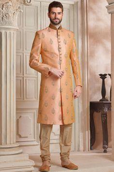 Orange Raw Silk Resham Embroidered Wedding Sherwani-IW1012 Kurta Men, Boys Kurta, Indian Groom Wear, Indian Wear, India Wedding, Wedding Wear, Gents Kurta, Wedding Sherwani, Boy Dress